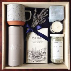 "Teak & Twine on Instagram: ""This custom gift is all about relaxation so we stuck to a soothing color palette and incorporated some of our favorite artisans: @shopmazama @silverneedleteaco @dicktaylorchocolate @herbivorebotanicals ☕️"""