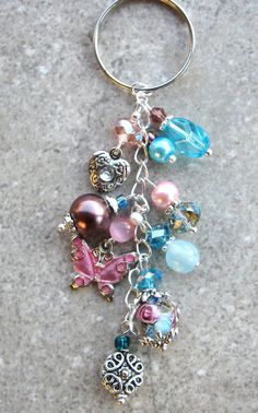 FLORAL GARDEN- Glass Beaded Keychain- Pink, Purple, and Blue Pearls, Swarovski Cyrstals, Lampwork Bead, and Pink Butterfly