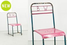 "Skola BW Chair - Pink | Antique metal seating | W15.5"" x D17.75"" x H33"" 