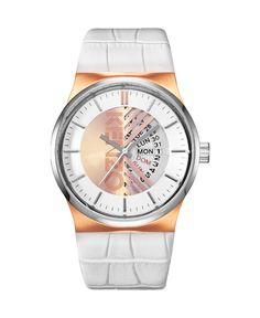 Kenzo orologio - cinturino in pelle - quadrante logato - movimento a tre lancette - indici con colore in contrasto - dat - Orologio donna Bianco