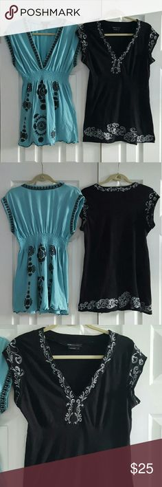 BCBGMAXAZRIA Deep Vneck Top Bundle Black top is size L It has silver scroll work. Gently washed and worn.  Both 100% cotton.  *Condition: Good, used, functional could be one/few minor flaws. No noticeable rips or stains. We try to note every flaw but sometimes we miss the smallest ones please be aware of this before purchasing a used item.                  *aqua blue with black embroidered design *elastic waist  * It does have two tiny holes as shown in photo three. One on the upper left…