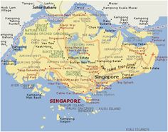 Map of Singapore.  #Maps #travel #holiday