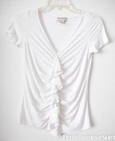 Banana Republic Cap Sleeve Top Blouse Shirt White Ruffle V Neck Ruched Size XS   eBay