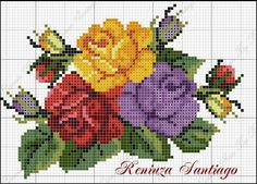 This Pin was discovered by Fot Cross Stitch Rose, Cross Stitch Flowers, Embroidery Patterns Free, Beading Patterns, Cross Stitch Designs, Cross Stitch Patterns, Cross Stitching, Cross Stitch Embroidery, Rose Embroidery