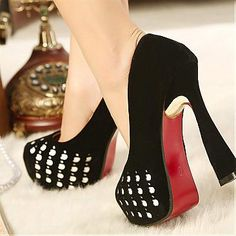 Elegant Suede Hollow Out Black Round Closed Toe Chunky Super High Heel Basic Pumps