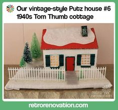 Make a midcentury modern style putz house -- free downloadable pattern.