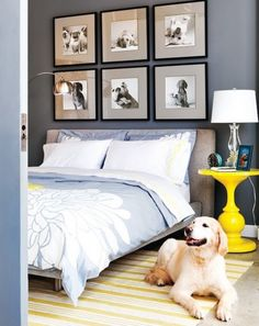 Virginia McDonald Photography Style at Home Mag Chic gray yellow blue bedroom design with blue walls paint color, gray linen modern platform bed, white yellow striped rug, glossy bright yellow table nightstand, blue duvet shams Blue Bedding, Blue Bedroom, Bedroom Wall, Serene Bedroom, Blue Duvet, Pretty Bedroom, Bedroom Colors, Modern Platform Bed, Modern Bedroom Decor