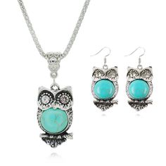 Fashion Jewelry Sets Tibetan Turquoise Chain Necklace & Pendants Silver Plated Water Drop Shaped Stud Earrings Women Collar 3