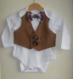 Baby Boy waistcoat onsie 3 to 6 months, baby occasion wear, christening outfit, Baby wedding outfit. Baby bow tie, uk