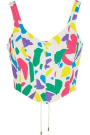 Cropped printed cotton-jacquard top
