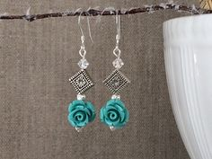 Turquoise Rose Silver Earrings Swarovski by CotonLilyCreations