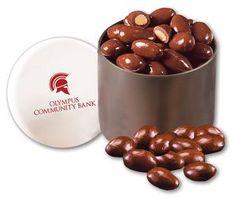 Chocolate Covered Almonds in Designer Tin