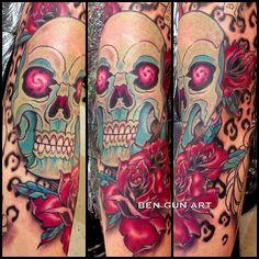 Skull and rose tattoo by Ben Gun @benguntattoo