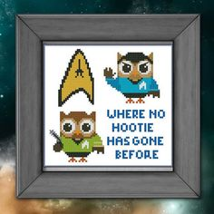Hooties like to dress up and pretend they are characters from Star Wars or Star Trek! Join them in this fun stitch that will surely bring a smile to