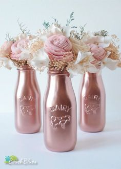 Items similar to Copper milk bottles / centerpiece / table decor / party decor / baby shower decor / rose gold decor / vase / kitchen decor / pink on Etsy - Copper Painted Milk Bottles Baby Shower Decor by BeachBluesBaby - Milk Bottle Centerpiece, Centerpiece Table, Baby Shower Themes, Baby Shower Decorations, Wedding Decorations, Gold Decorations, Shower Ideas, Wedding Centerpieces, Birthday Decorations