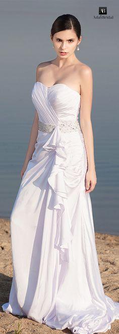 Elegant Satin chiffon sweetheart neckline A-line wedding dresses(WWD25106)