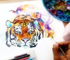 Tiger watercolor by Art Jongkie