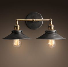Metal Filament Double Sconce Aged Steel Would add a good amount of interest to that very traditional bathroom!
