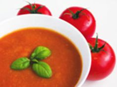 Tomato and Roasted Red Pepper Soup Recipe : The zesty, homemade tomato broth enhances this delicious soup, which can be served hot or cold. Try it alongside a green salad or with a grilled cheese sandwich for a savory light meal.