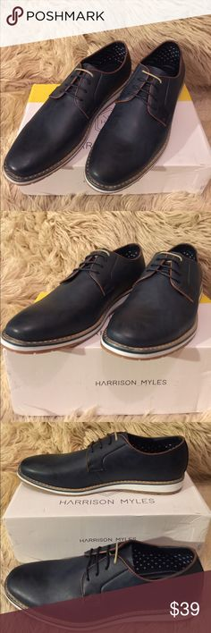 HARRISON MYLES Men's Casual Derby Shoes, size 10.5 HARRISON MYLES Men's Casual Derby Shoes, size 10.5.  Faux leather upper.  Textile lining.  Rubber outsole.  Cushioned footbed.  Navy in color.  Fits true to size. Harrison Myles Shoes Oxfords & Derbys