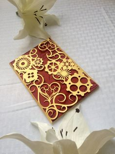 Steampunk laser cut wedding invitation gears and hearts cut gatefold DIY Kit victorian party unique style