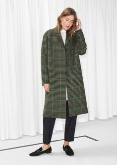 & Other Stories image 2 of Wool & Mohair Blend Long Coat in Green Tweed