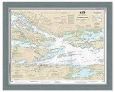 St Lawrence River Grenadier Island to Bartlett Point, Clayton Alexandria Bay Thousand Nautical Map Reprint-Great Lakes NY Saint Lawrence River, St Lawrence, Ship Map, Alexandria Bay, Thousand Islands, Old Wall, Wall Maps, Us Map, Great Lakes