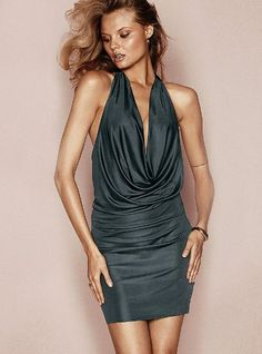 Sexy cowlneck sleeveless dress in a shiny rayon fabric.  The gunmetal color is chic.  Perfect for girls night!
