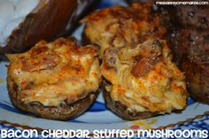 Cheddar Bacon Stuffed Mushrooms  Ingredients:        1 container whole fresh mushrooms, around 12-16      1 medium onion, diced      4 cloves garlic, minced      1/2 pound bacon      1 8oz package cream cheese, softened - broken into chunks      2 cups shredded cheddar cheese      salt, pepper, & paprika to taste