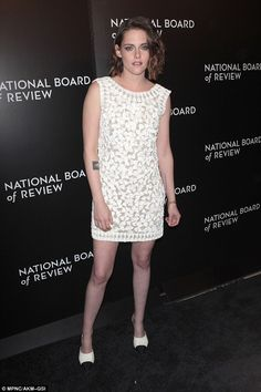 Simply chic: Kristen Stewart looked exquisite in a sleeveless white dress at the National ...