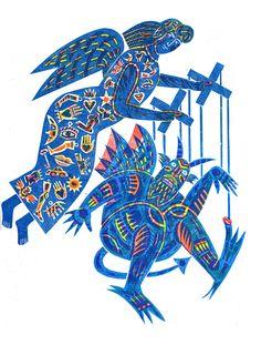 WHAT THE DEVIL? A three colour linocut by  Bernard Lodge