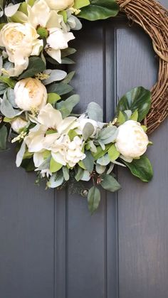 Peony and Magnolia wreath,Gorgeous greenery, cream peonies and white magnolia flowers. Modern Decorations with Frame T. Diy Spring Wreath, Summer Door Wreaths, Wreaths For Front Door, Diy Wreath, Grapevine Wreath, Summer Door Decorations, Monogram Wreath, Wreath Ideas, Magnolia Wreath