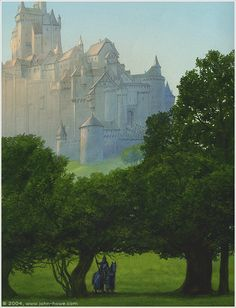 John Howe  The Knight With the Lion / Yvain defends the Queen's city