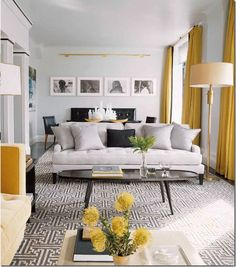 long living room with yellow drapes, source unknown