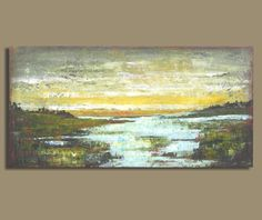 FREESHIP abstract sunset painting abstract painting of water original art (12x24) modern landscape paintings