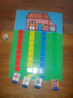 Lequel des 3 petits cochons se rendra le premier à la maison de brique? Petit jeu pour initier les enfants à attendre leur tour....