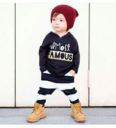 Outfit of the day Maroon knit beanie Almost FAMOUS hoodie tee Little Bandit Pants Boots Toddler Swag, Toddler Boy Fashion, Little Boy Fashion, Toddler Boy Outfits, Toddler Boys, Baby Kids, Kids Outfits, Kids Fashion, Cool Baby Clothes