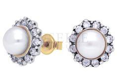 Klasyczny komplet złotych kolczyków z białą perłą hodowlaną i cyrkoniami