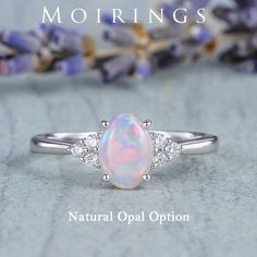 Natural Opal Engagement Ring White Gold Ring Oval Cabochon Opal Ring Cluster Diamond Ring Plain Band Birthstone Australia White Opal Gift Diamond Cluster Ring, Diamond Bands, Opal Rings, Gemstone Rings, White Gold Rings, Silver Rings, Natural Opal, White Opal, Engagement Rings