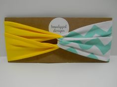 Custom Size   Turban Twist Headband Yellow with Mint and White Chevron by howdygirldesigns https://www.etsy.com/listing/202104534/turban-twist-headband-yellow-with-mint?ref=shop_home_active_20