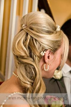 Absolutely LOVE ... However, I would have to have bangs! Wedding hair style half up, half down <3