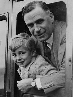 A young Rupert Murdoch with his father, Sir Keith, in 1936