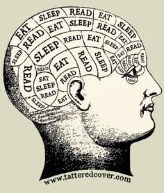 "eat, sleep, read....pretty sure this is what my brain looks like. Also a few boxes marked ""clothes"" :)"