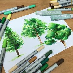 Copic Markers: Great example of shading done with colic markers, though this is an image of trees it's technique can be applied else where (eg. Cubes) using tree shades can begin to create a realistic feel. Copic Marker Art, Copic Art, Sketch Markers, Copic Sketch, Rendering Techniques, Art Techniques, Shading Techniques, Landscape Sketch, Landscape Design