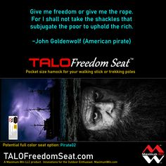 """It was suggested to add Pirate themed selections to the print variations of the TALO Freedom Seat. Need a commitment of 24 to make this option a reality """"Pirate 02"""" Other seats available now, great holiday gifts. The TALO Freedom Seat is the pocket size hammock used with your walking stick or trekking poles. Made in the U.S.A. #pirates #piratelife #hiking #walking #physicaltherapy"""