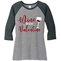 Wine is My Valentine Drinking T Shirts Womens Funny Valentines Day Sleeve O-Neck Baseball Tee Tops for Ladies Valentine Drinks, Valentine T Shirts, Funny Valentine, Be My Valentine, Personalized Valentine's Day Gifts, T Shirts For Women, Wine, Sweatshirts, Lady