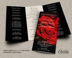Wedding Program With Red Roses By Idesignstationery Elegant Programs Printable