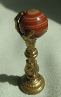 Victorian Eagle Claw Wax Seal Stamp with Red Banded Agate - fromdaysgoneby on Ruby Lane
