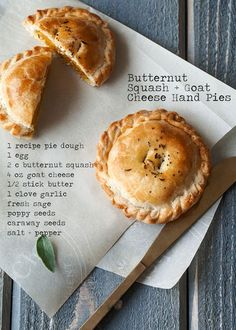 Roasted with butter, garlic, and sage, these BUTTERNUT SQUASH (substitute squash for zucchini seeing as I dislike the taste of squash) GOAT CHEESE HAND PIES are happiness wrapped into individual portions. Pie Recipes, Fall Recipes, Cooking Recipes, Noodle Recipes, Potato Recipes, Recipies, Savory Pastry, Savoury Pies, Hand Pies