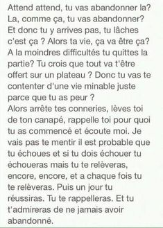 T'aurais dû. Some Quotes, Tweet Quotes, Love Words, Beautiful Words, Positive Attitude, Positive Quotes, Sad Texts, French Quotes, Bad Mood
